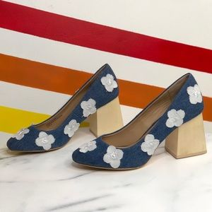 NEW Anthropologie floral denim block heels